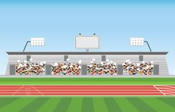 Crowd in stadium grandstand to cheering sport. Vector illustration stock illustration