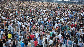 Crowd in a stadium at a live concert Stock Photo