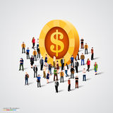 Crowd standing around coin. On white background. Vector illustration Stock Photo