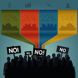 Crowd standing out. Infographics. Crowd standing out. Signs to vote no. Infographics royalty free illustration
