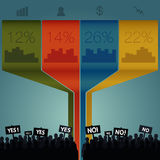 Crowd standing out. Infographics. Crowd standing out. Signs to vote no and yes. Infographics royalty free illustration