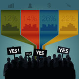 Crowd standing out. Infographics. Crowd standing out. Signs to vote yes. Infographics vector illustration