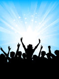 Crowd on starburst background. Excited crowd on starburst background Royalty Free Stock Photo