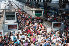 Crowd at the station Royalty Free Stock Images