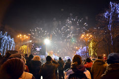 Crowd in the street 3. Thousands of people gathered in the New Year's Eve in Constitution Square(Piata Constitutiei) in Bucharest to view the fireworks, 01.01 Royalty Free Stock Photo