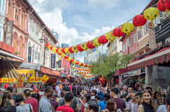 Crowd in a street of Chinatown during chinese new year, Singapore Stock Photo