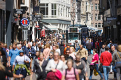 Crowd the streets of Amsterdam Royalty Free Stock Photography