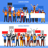 Crowd Strike Banners Set. Set of two horizontal protesting crowd banners with young rioters holding empty placards of different size vector illustration Stock Photo