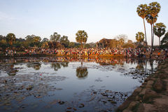 Crowd at Sunrise, Angkor Wat in Cambodia Stock Photos