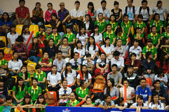 Crowd of supporter at sporting event hall. HO CHI MINH, VIET NAM- DEC 15: Crowd of supporter sitting and wait at sporting event hall in Ho Chi Minh, Viet Nam on Royalty Free Stock Image