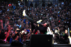 Crowd surfing at a concert Stock Photography
