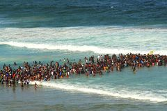 Crowd swimming in Durban. South Africa. Crowds swimming together in the ocean in Durban, South Africa royalty free stock photography