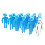 Crowd of symbolic human figures with a leader ahead Stock Photos