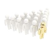 Crowd of symbolic human figures with a leader ahead Royalty Free Stock Photos