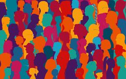 Free Crowd Talking.Dialogue And Communication Between Group Of Diverse Multiethnic And Multicultural People.Silhouette Of Colored Profi Royalty Free Stock Images - 173262779