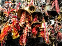 Crowd of temple bells in India Royalty Free Stock Images
