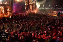 Crowd, thousands of people at music festival Royalty Free Stock Image