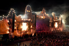 Crowd, thousands of people at music festival Royalty Free Stock Images