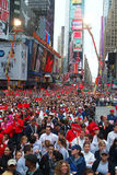 Crowd in Times Square for EIF Revlon Run/Walk. 400,000 people cram Times Square before Revlon Run/walk 2009 Stock Photography