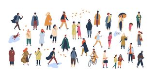 Crowd of tiny people dressed in autumn clothes or outerwear walking on street and performing outdoor activities. Group vector illustration