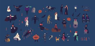 Crowd of tiny people dressed in various Halloween costumes isolated on dark background. Male and female cartoon vector illustration