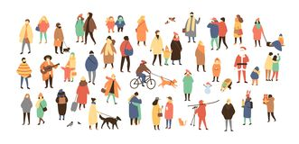 Crowd of tiny people dressed in winter clothes or outerwear walking and performing outdoor activities. Bustle and scurry vector illustration