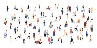 Crowd of tiny people walking with children or dogs, riding bicycles, standing, talking, running. Cartoon men and women