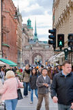 Crowd of tourist on street in Stockholm Stock Image