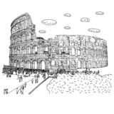 Crowd of tourist visiting Colosseum vector illustration sketch doodle hand drawn with black lines isolated on white background stock photo