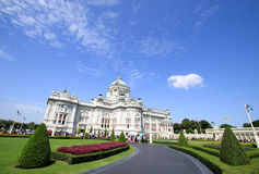 Crowd of tourists in The Ananta Samakhom Throne Hall. Royalty Free Stock Photography