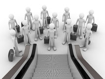 Crowd of tourists before escalator. Crowd of tourists with suitcases before escalator Royalty Free Stock Photos