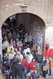 Crowd of tourists in Juliet Capulet's villa Stock Photos