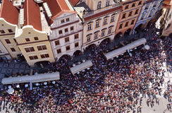 Crowd of tourists Prague. In city center royalty free stock photos