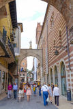 CROWD OF TOURISTS ON A STREETS OF VERONA Stock Image