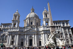A crowd of tourists visit Fountain of the Four Rivers before Saint Agnese in Agone on Navon Square, Rome, Italy on September 20, 2 Stock Photo