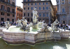 A crowd of tourists visit Navon Square and the Moor's fountain on September 20, 2010 in Rome, Italy Stock Photography