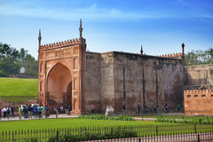 A crowd of tourists visit Red Fort Agra on January 28, 2014 in Agra, Uttar Pradesh, India. The fort is the old Mughal Empire capit Royalty Free Stock Photo
