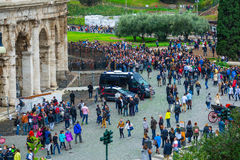 Crowd of toursits waiting for entrance to the world famous Colosseum in Rome Stock Photos