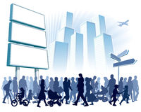 Crowd in town stock illustration