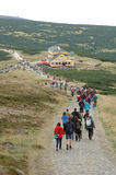 Crowd on trail in Karkonosze mountains Stock Photo