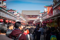 Crowd of travelers at the Senso-ji Temple stock photo