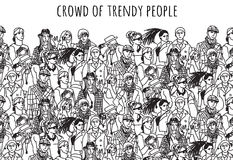 Crowd of trendy people black and white. Empty place for your text. Monochrome  vector illustration. EPS8 Royalty Free Stock Image