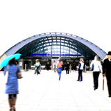 Crowd at the tube station Royalty Free Stock Photos