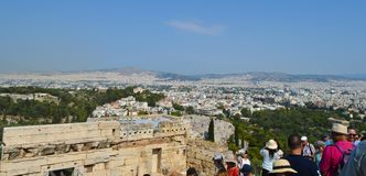 Crowd and unsafety going to Acropolis in Athens, Greece on June 16, 2017. stock image