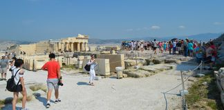 Crowd and unsafety going to Acropolis in Athens, Greece on June 16, 2017. royalty free stock photography