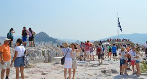 Crowd and unsafety going to Acropolis in Athens, Greece on June 16, 2017. royalty free stock photos