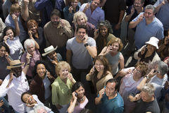 Crowd Using Cell Phones Royalty Free Stock Image