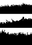 Crowd variation. Three different crowd scenes drawn freehand of a rock concert Royalty Free Stock Image