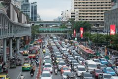 Crowd of vehicles stand in a traffic jam after work royalty free stock photography