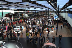 The crowd visit on the auto show Royalty Free Stock Photography